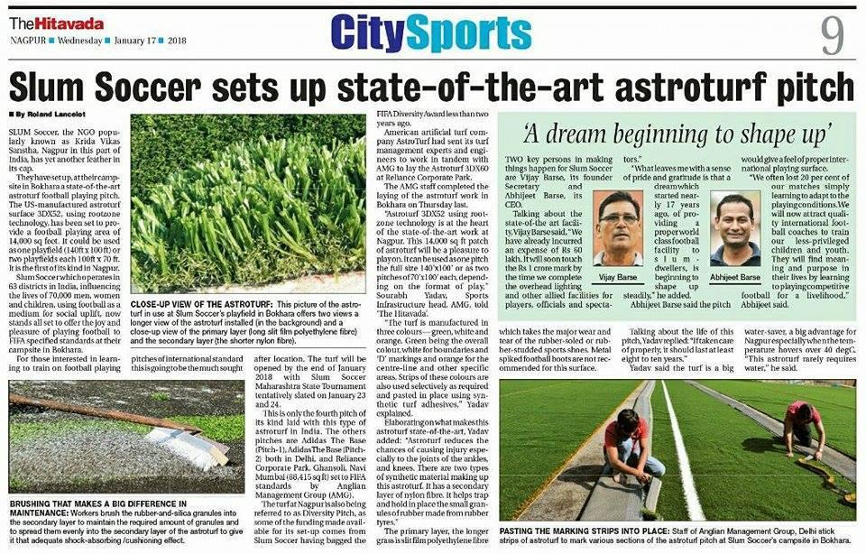 Slum Soccer-Nagpur Astroturf (TheHitavada) article